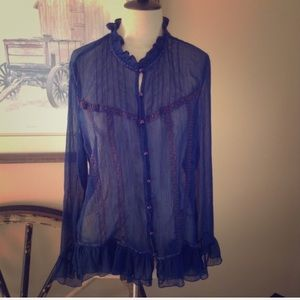 Button down lace blouse by George